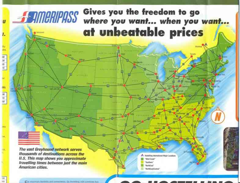 Greyhound Route Map | Holiday Map Q | HolidayMapQ.com ®