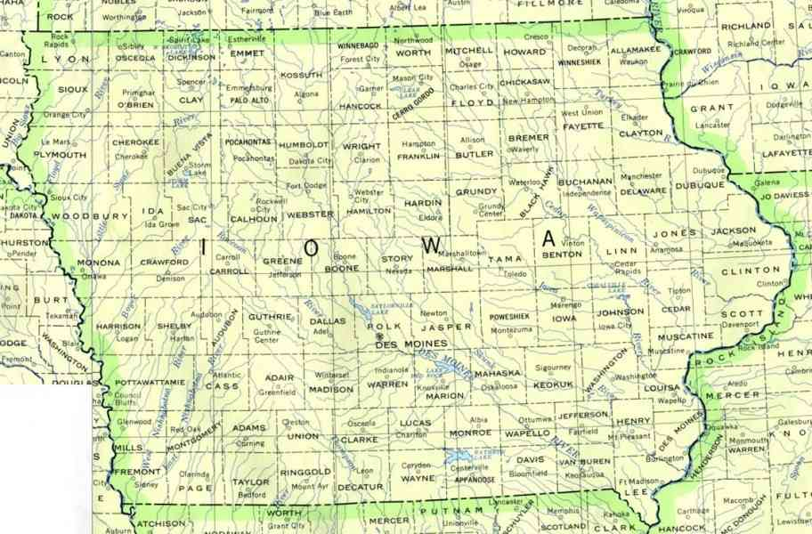 iowa county map 8 Iowa County Map