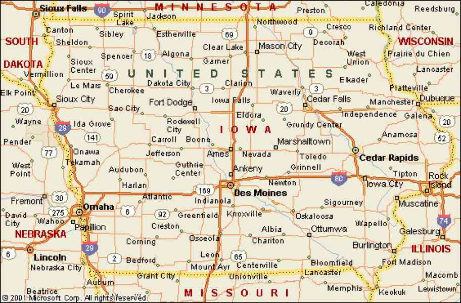 Iowa Road Map Map Holiday Travel HolidayMapQcom - Road map of iowa