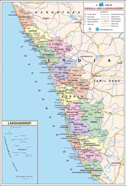 kerala travel map 4 Kerala Travel Map
