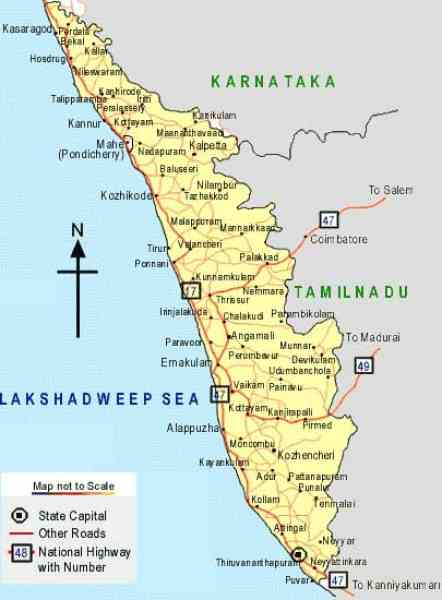 kerala travel map 17 Kerala Travel Map