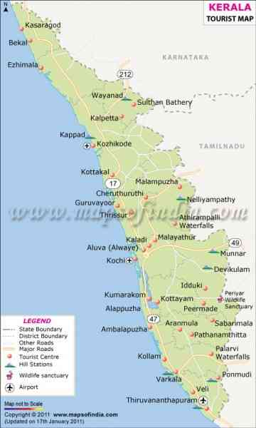 kerala travel map 509 Kerala Travel Map