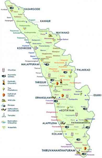 kerala travel map 14 Kerala Travel Map