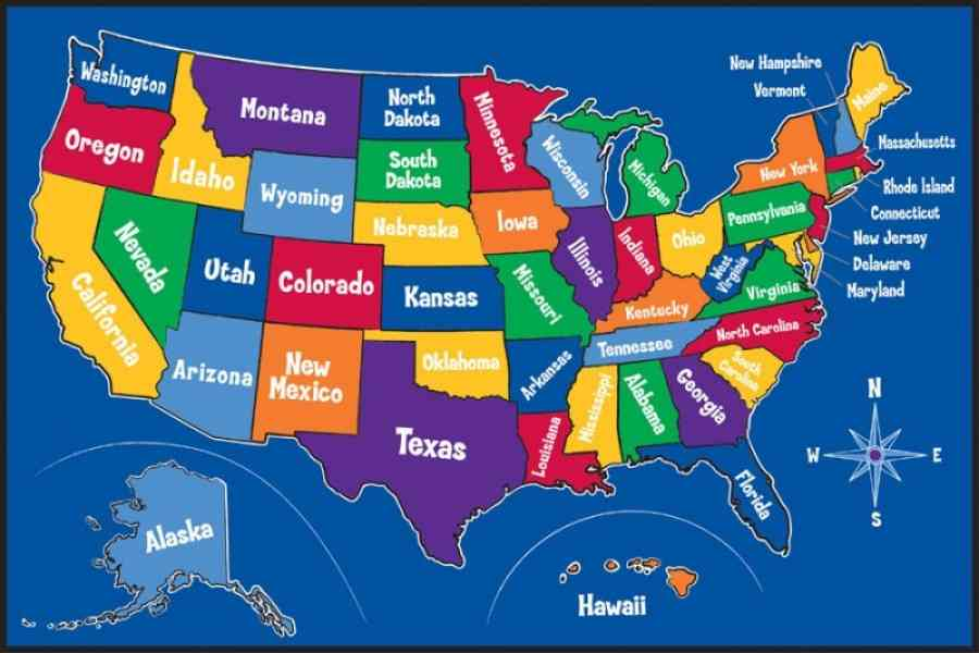Map Of United States For Kids Thefreebiedepot - Map of unites states