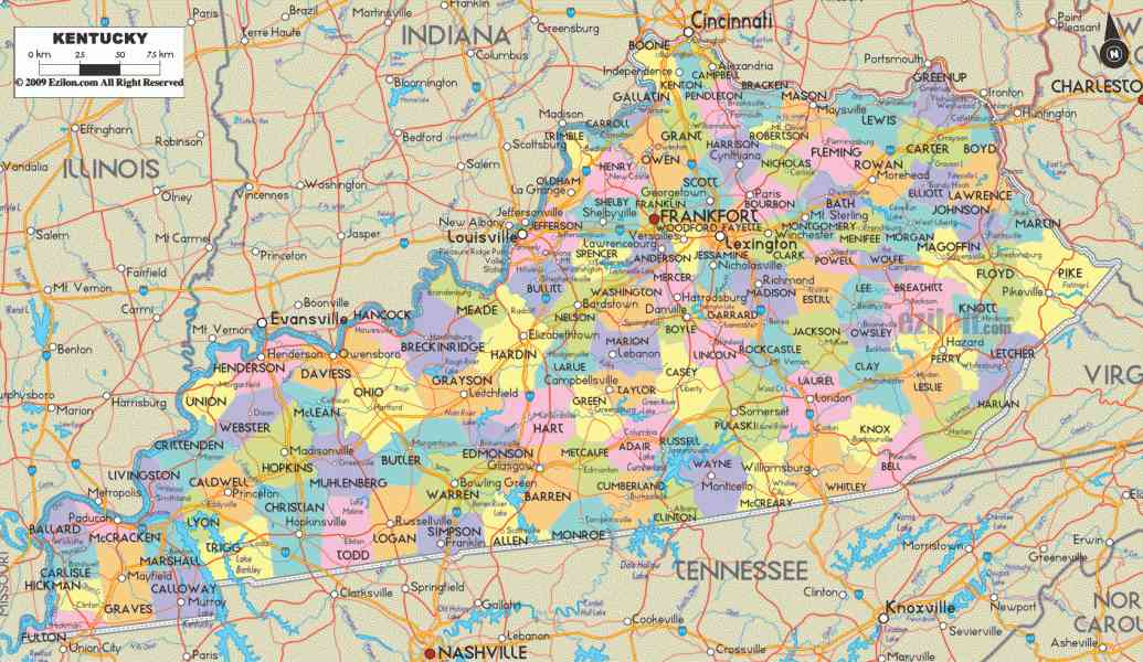Ky Map With Counties Map Holiday Travel HolidayMapQcom - Kentucky cities map