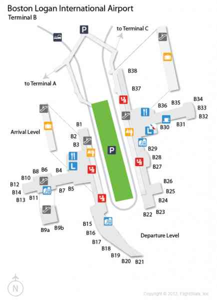 Logan Airport Terminal B Map AA Guide: BOS (Boston Logan) – Connections, MCT, etc.   Page 3