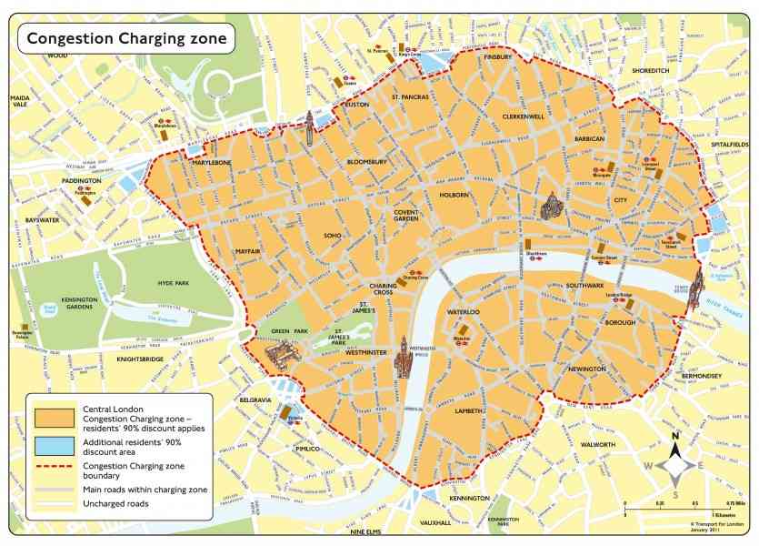 London Congestion Charging Zone Map 187 London Congestion Charging Zone Map