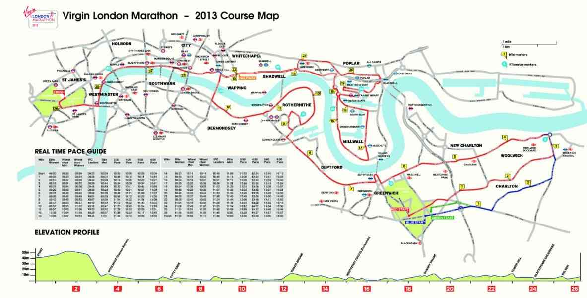 London Marathon Route Map Map Holiday Travel HolidayMapQcom - London marathon map