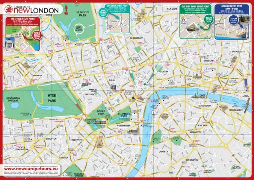 London Print Map Holidaymapq ®: Map Of London Print At Infoasik.co
