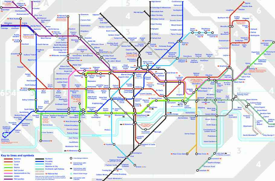 Image Gallery London Tube Map Zones