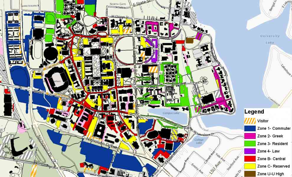 Louisiana State University Campus Map MAP - Us campus map