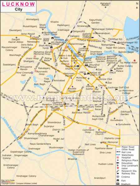 lucknow city map 585 Lucknow City Map