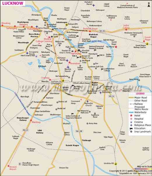 lucknow city map 265 Lucknow City Map