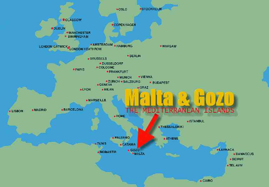 Malta on the world map holidaymapq malta on the world map gumiabroncs Gallery