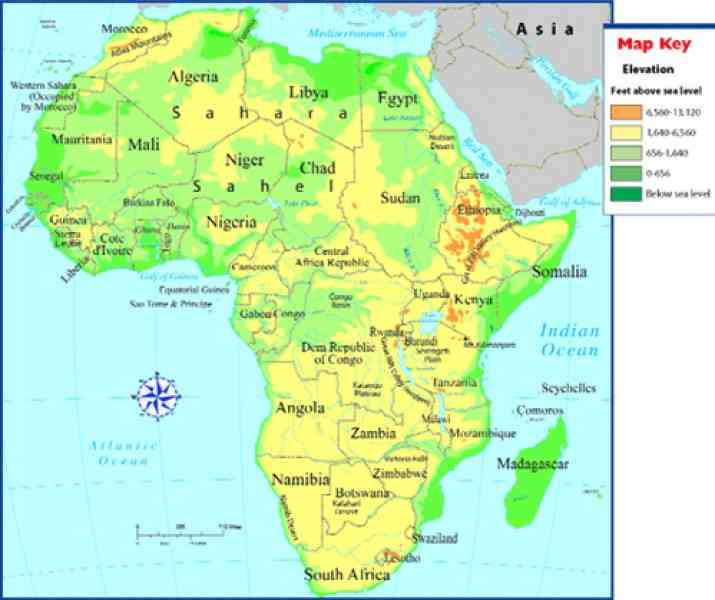 Geographic Map Of Africa Rivers Africa Countries Map With Rivers - Map of africa physical