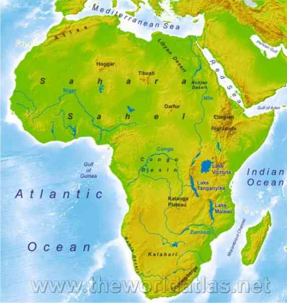 Map African Continent Map Holiday Travel HolidayMapQcom - African continent map
