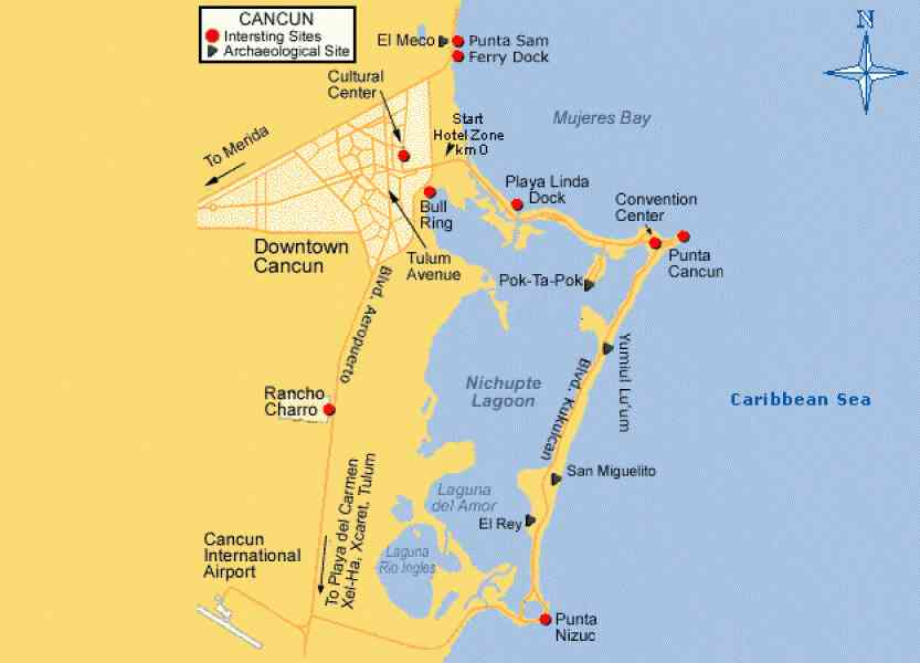 Map Cancun Area | Holiday Map Q | HolidayMapQ.com ®