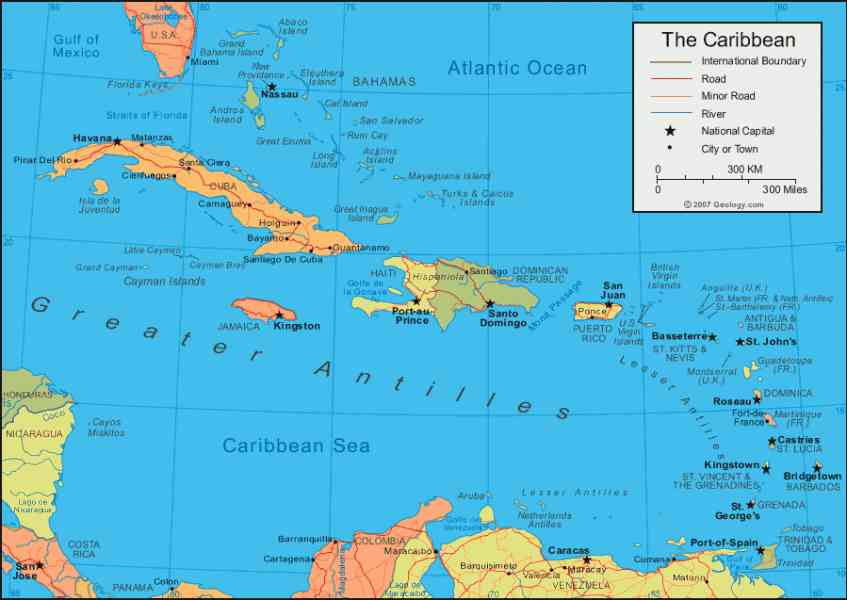 Weather Map Of The Carribean.Map Caribbean Holidaymapq Com