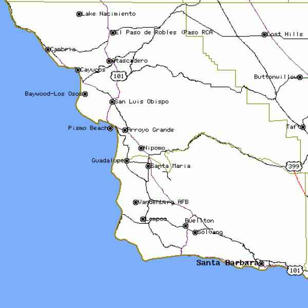 Map Central California Coast Map Holiday Travel HolidayMapQcom - Map of central california