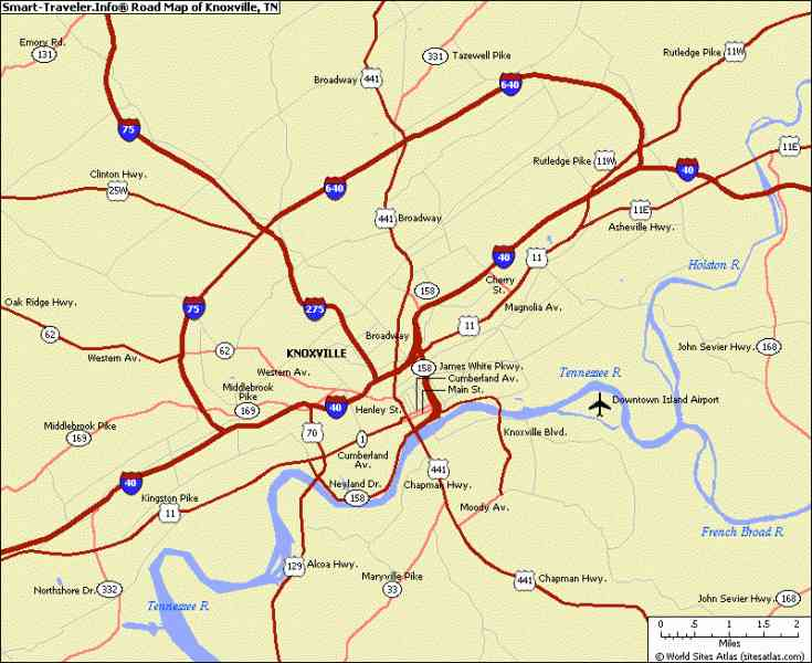 Map Knoxville Tennessee HolidayMapQ