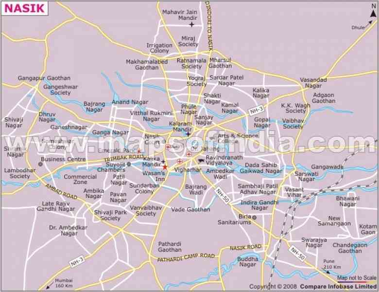 map nashik city 286 Map Nashik City