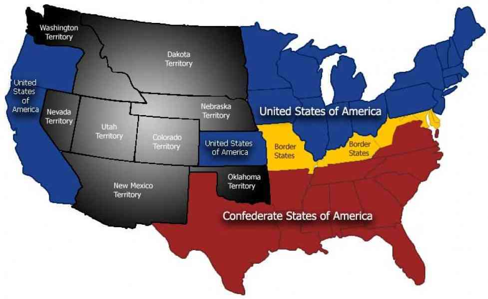 Map Of Civil War Us Map Holiday Travel HolidayMapQcom - Secession map of us