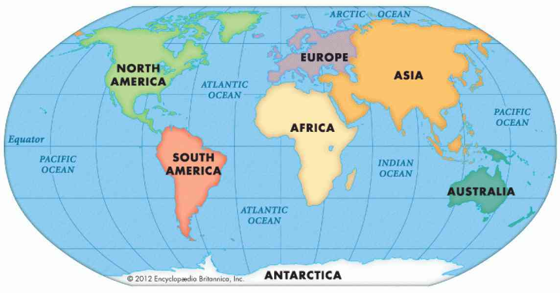 map of continents and oceans 2 Map Of Continents And Oceans