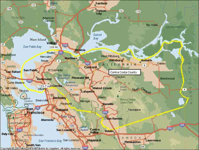 map of contra costa county map holiday travel holidaymapq