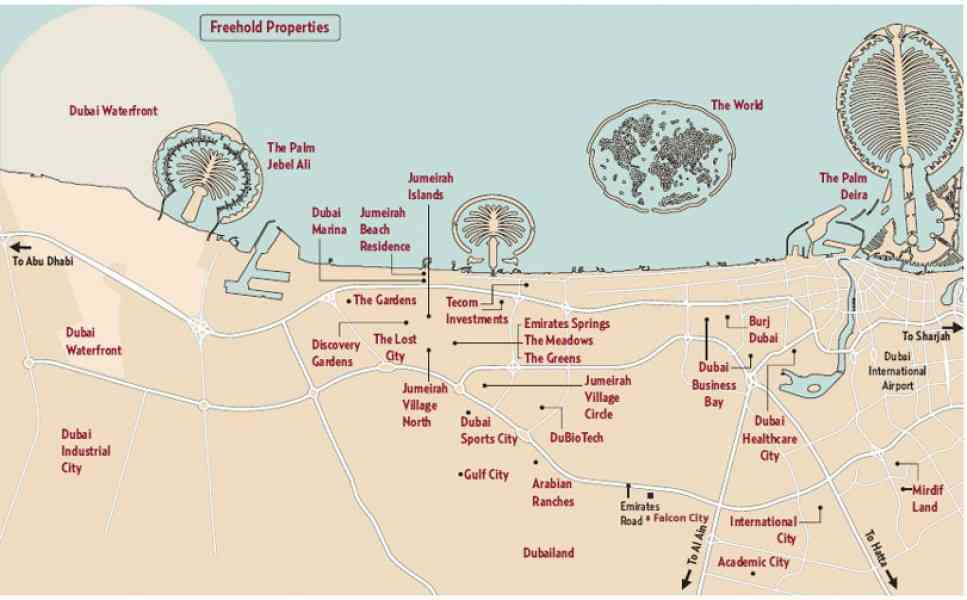 map of dubai 357 Map Of Dubai