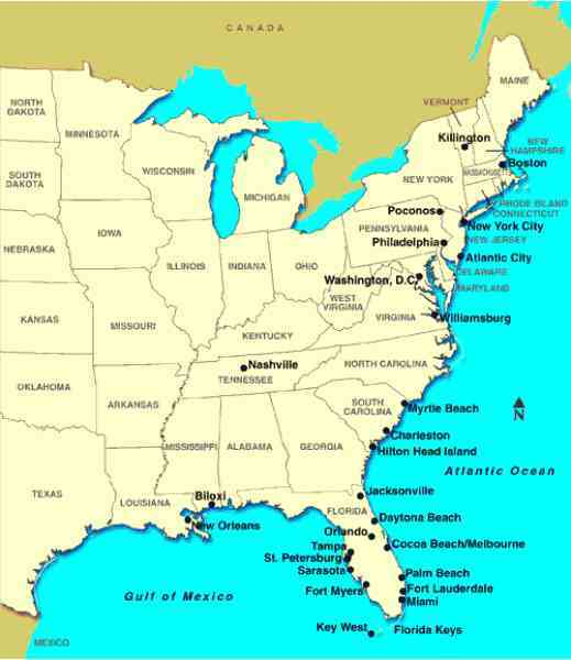 map of east of usa map holiday travel holidaymapq