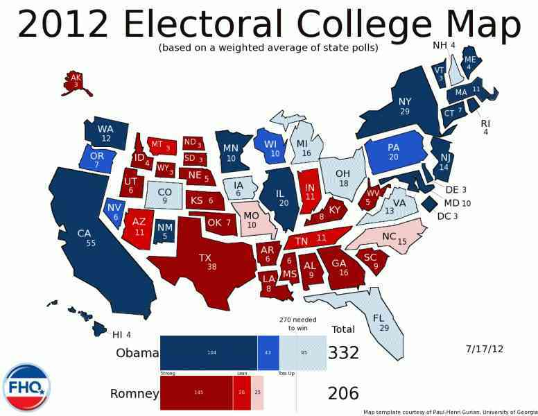 map of electoral votes 2012 10 Map Of Electoral Votes 2012