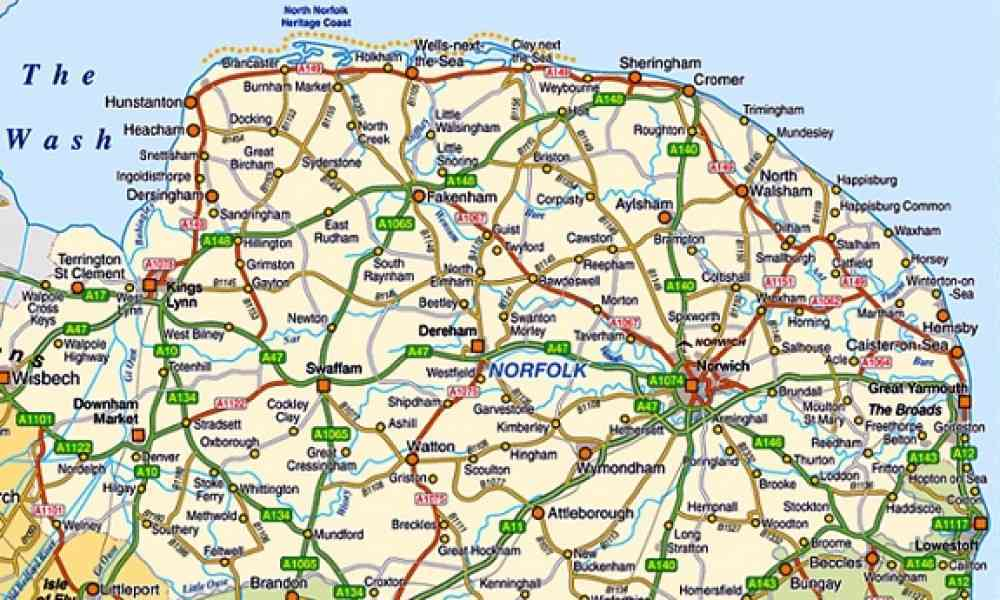 Map Of England Norfolk HolidayMapQcom