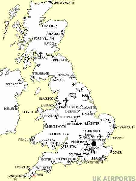 map of england with airports
