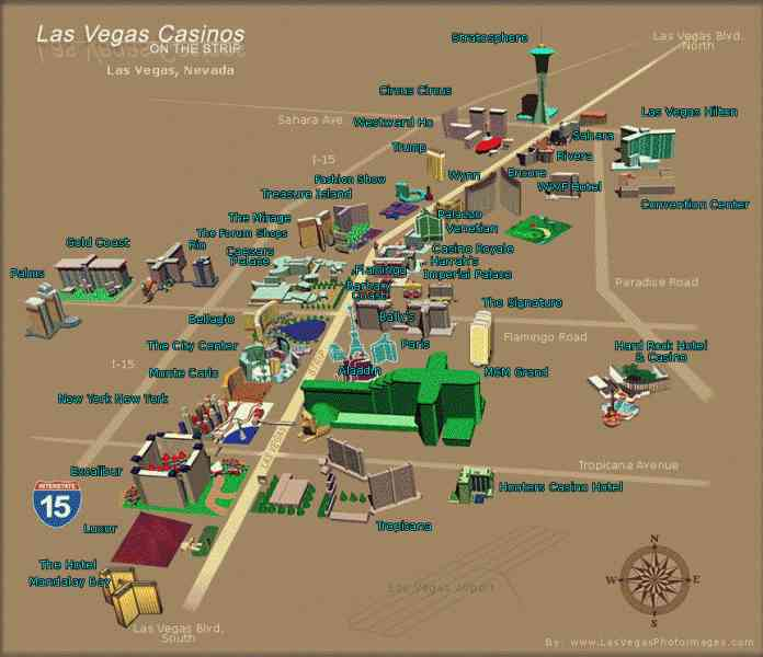 map of hotels on the strip map holiday travel holidaymapq
