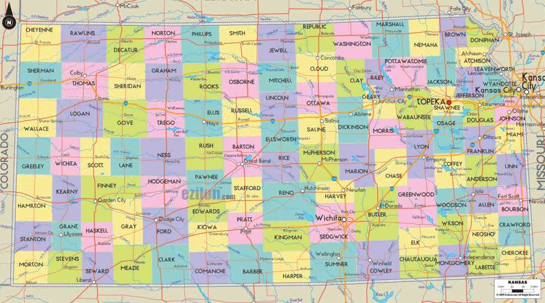 map of kansas with counties 4 Map Of Kansas With Counties