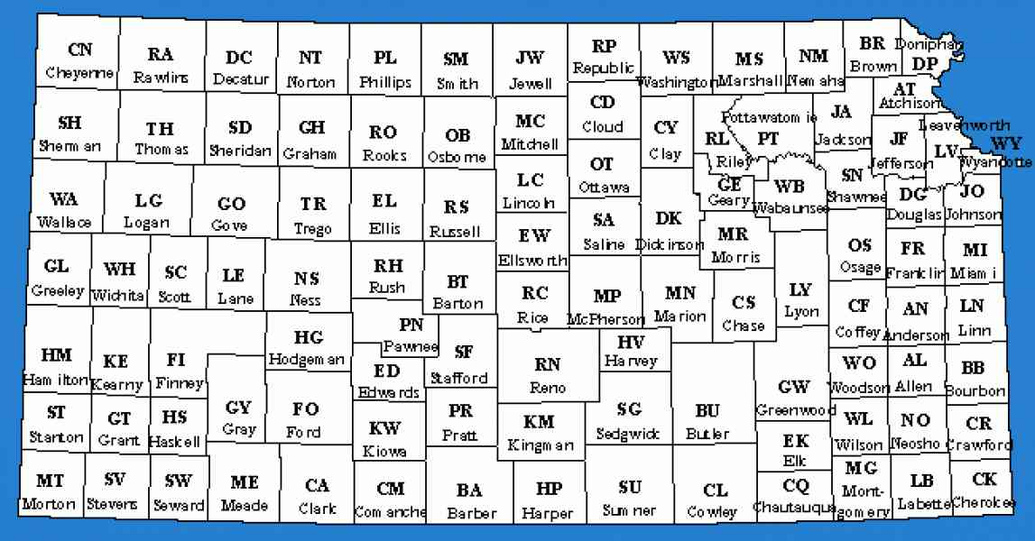 map of kansas with counties 622 Map Of Kansas With Counties