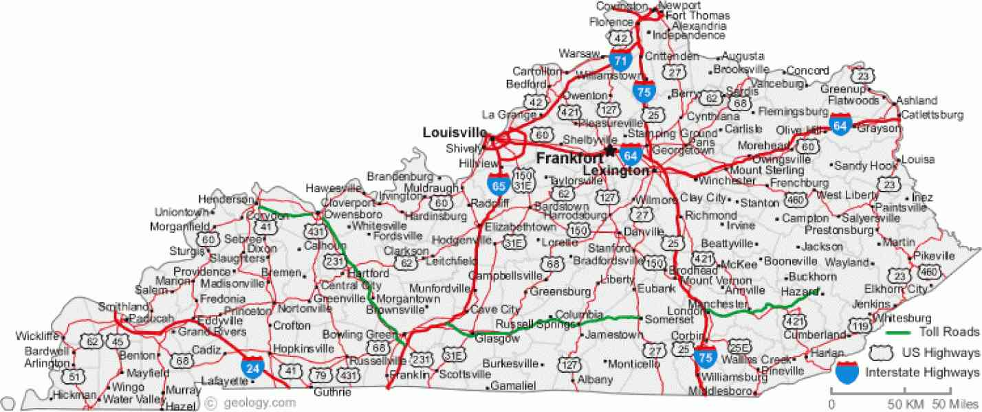 Map Of Ky Cities  Map  Holiday  Travel HolidayMapQ