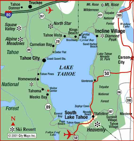 Map Of Lake Tahoe 5 Map Of Lake Tahoe