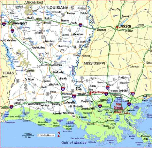Map Of Louisiana State Map Holiday Travel HolidayMapQcom - Lousiana state map