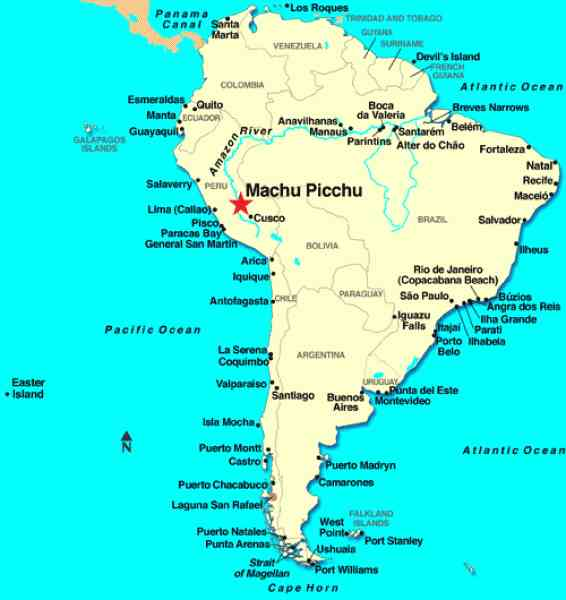 Map Of Machu Picchu In Peru Holidaymapq Com