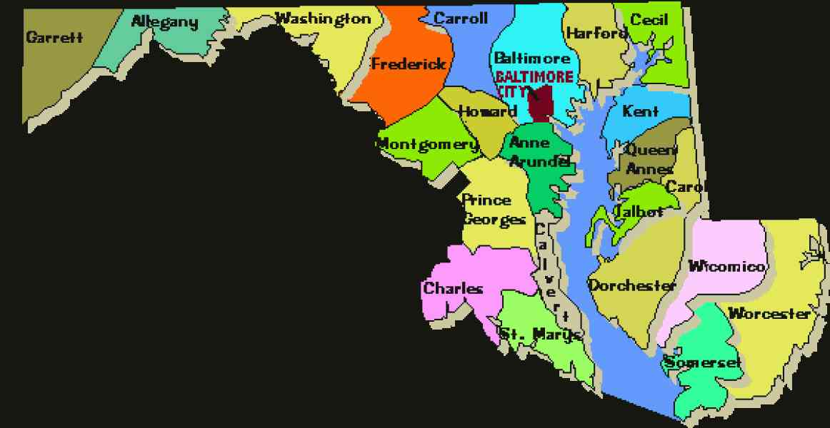 Map Of Maryland Counties HolidayMapQcom