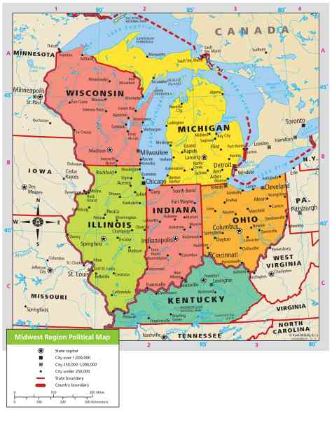 Map Of Midwest Region   HolidayMapQ.®