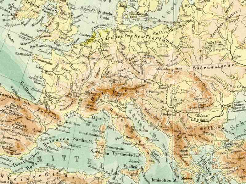 Map Of Mountains Of Europe 7 Map Of Mountains Of Europe