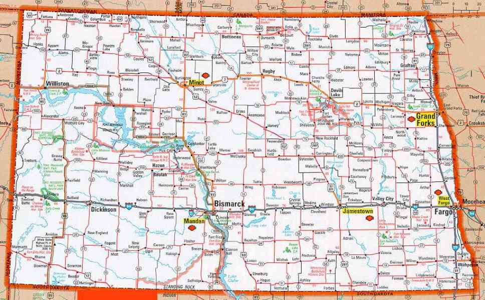 Map Of Nd Map Holiday Travel HolidayMapQcom - Nd road map with cities