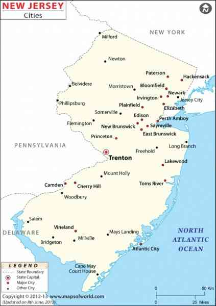 Map Of New Jersey Cities  Map  Holiday  Travel
