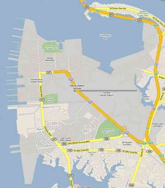 Map Of Norfolk Naval Station Holiday Map Q Holidaymapq