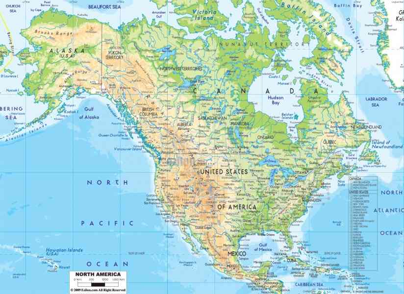 The Map Shows The States Of North America Canada USA And Mexico - Map of us canada and mexico