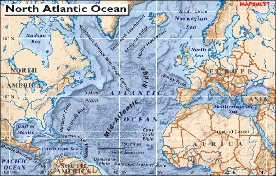Map Of North Atlantic Ocean - HolidayMapQ.com