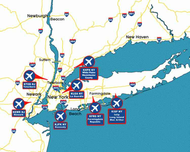 Map Of Nyc Airports | Holiday Map Q | HolidayMapQ.com