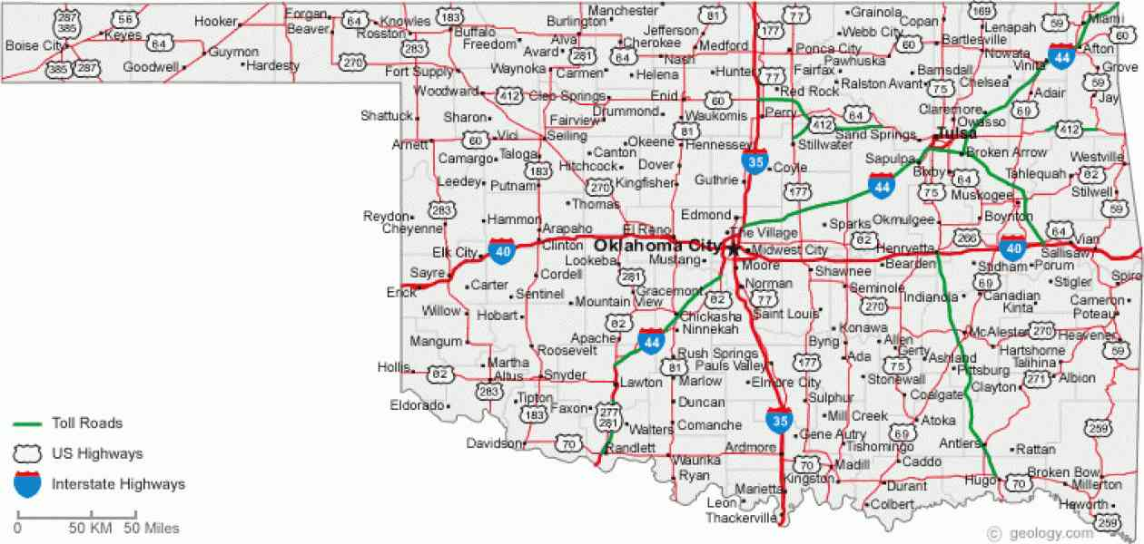 map of oklahoma cities 608 Map Of Oklahoma Cities